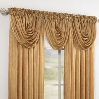 Crushed Taffeta Beaded Waterfall Valance & Rod Pocket