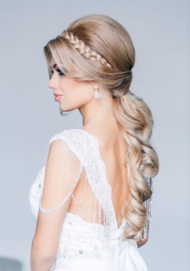 Hochzeit Frisuren Am Oberkopf Toupiert Getragen Pony Haarreifen