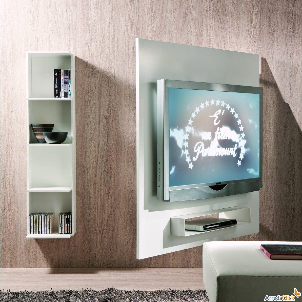 Porta tv orientabile a parete con libreria Ghost