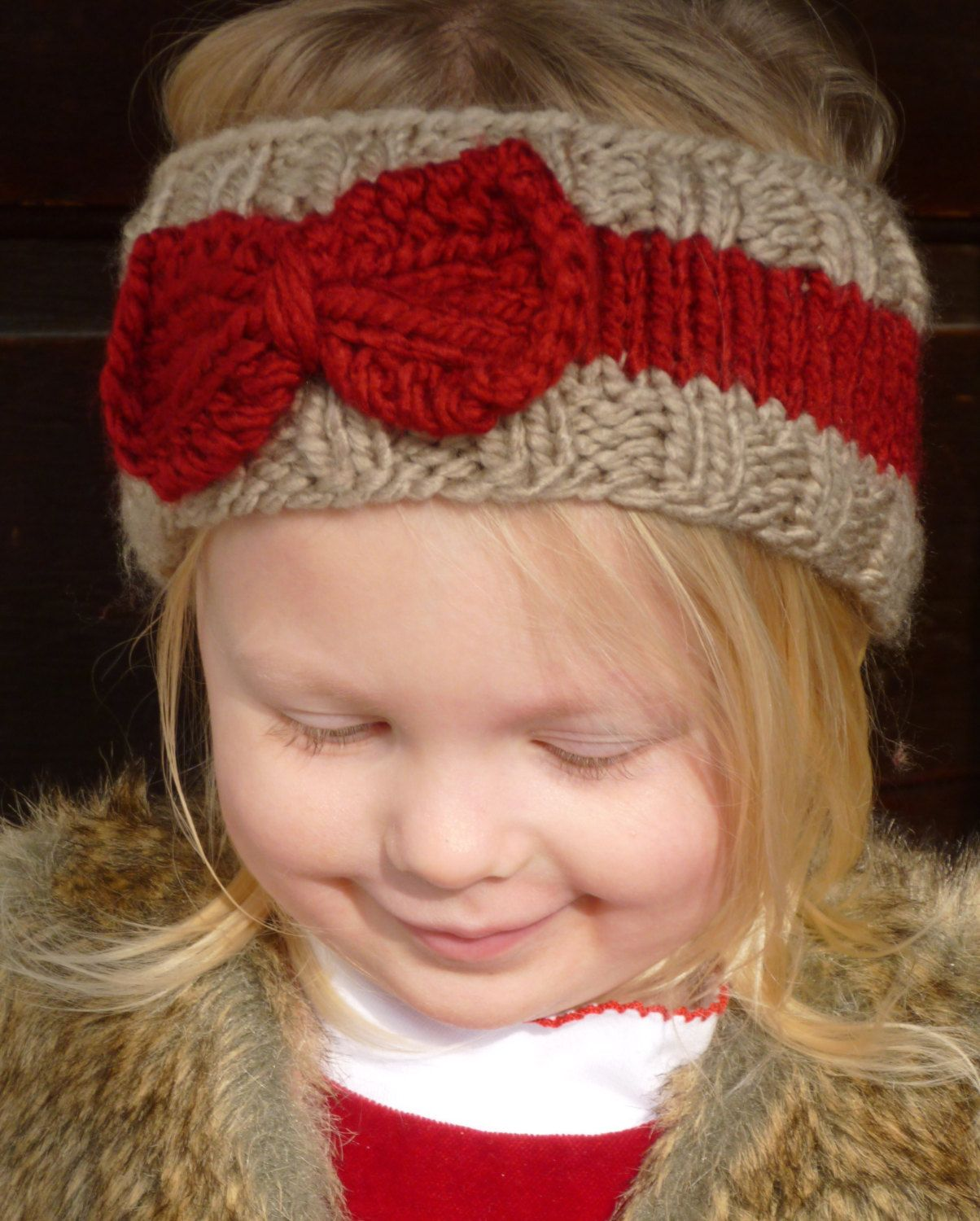 Knit Tan And Cranberry Toddler Ear Warmer Knit Toddler