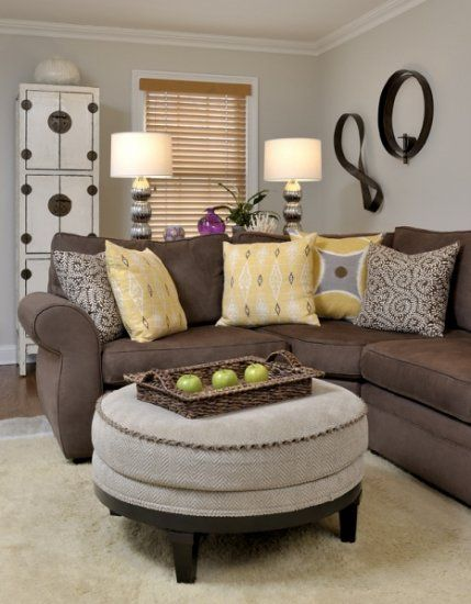 Sectional gray silver  brown  yellow green purple accents  like this color combo also pw living room by beth rosenfield design rooms photo gallery rh pinterest