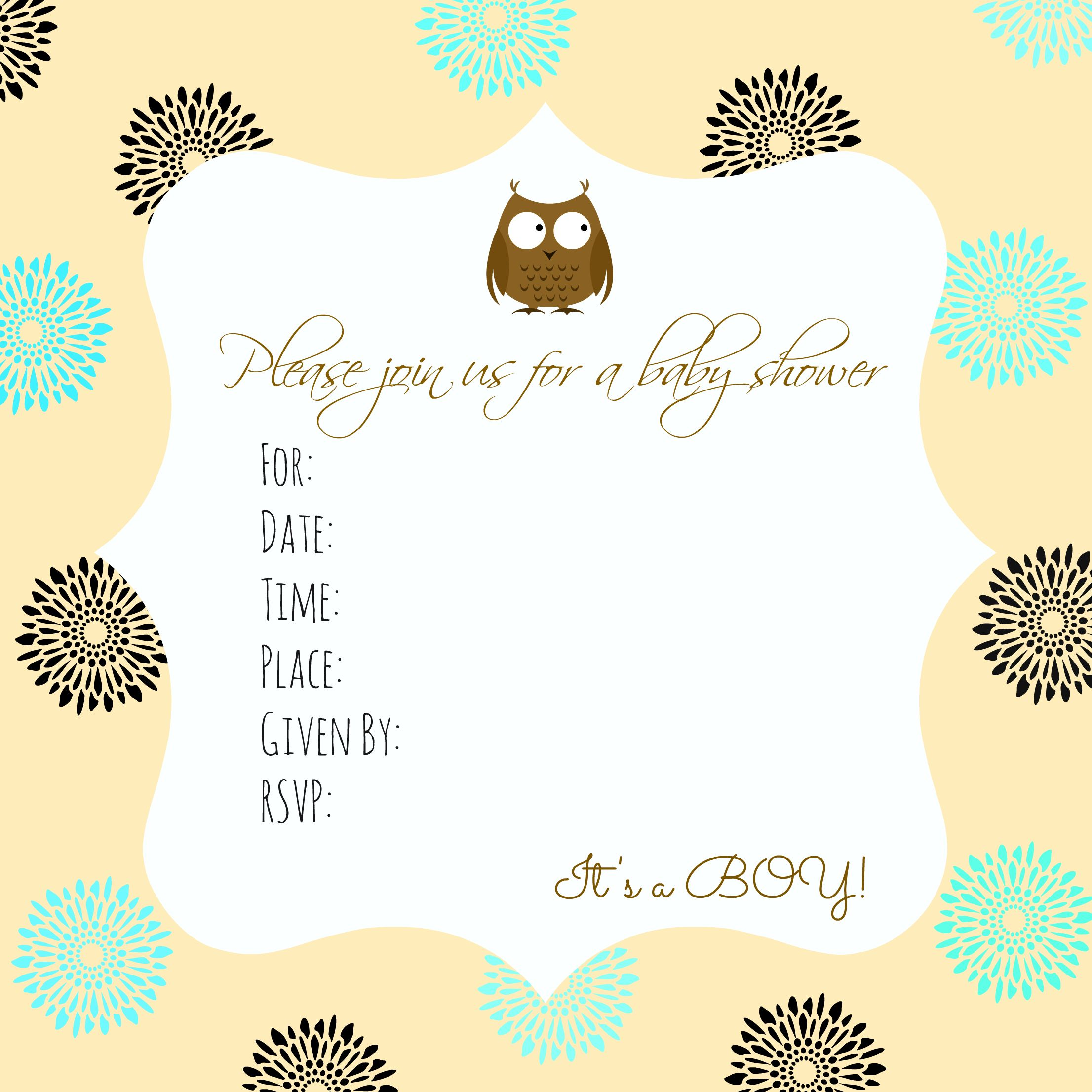 Free Baby Shower Invitation Printable Baby Boy Owl
