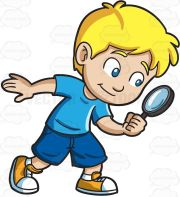 little boy playing detective