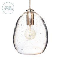 Hand Blown Modern Orb Glass Egg Seeded Glass Pendant Light ...