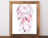 Pink Dream Catcher, Dreamcatcher print, Dream Catcher