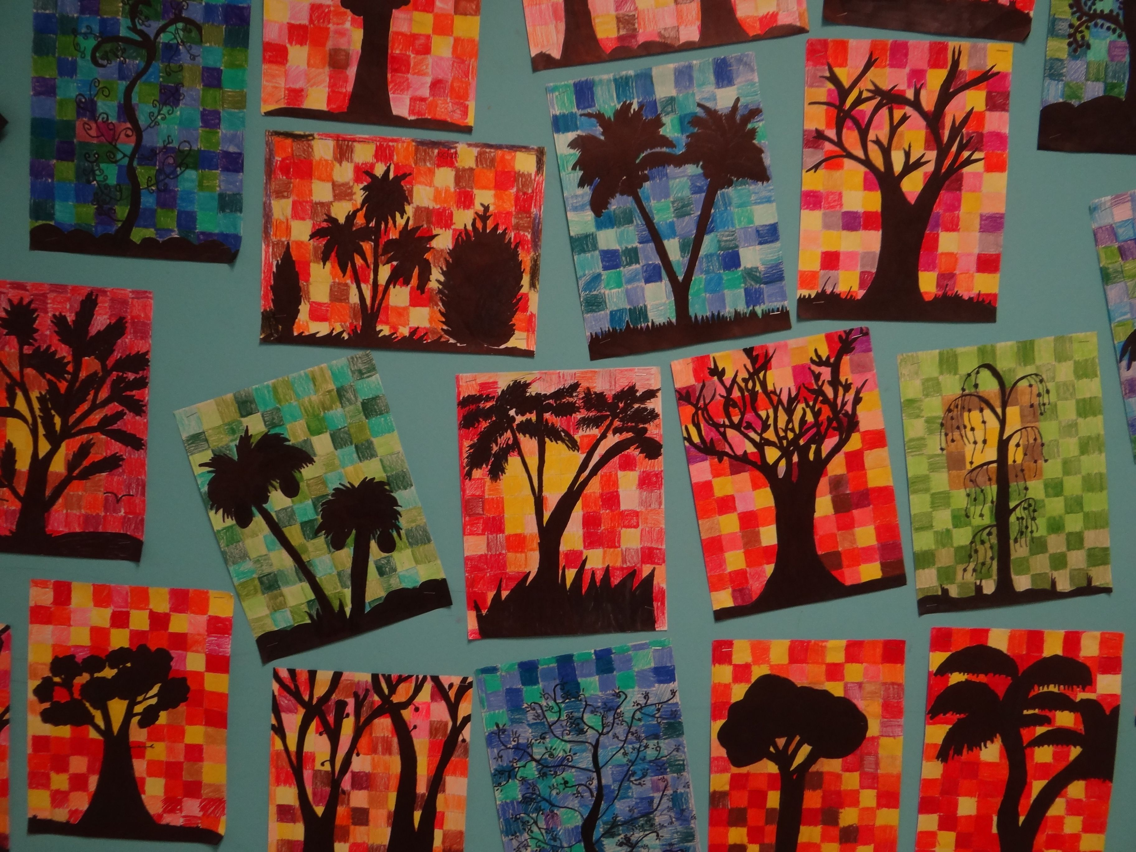 4th Grade Tree Silhouettes With Warm Or Cool Backgrounds