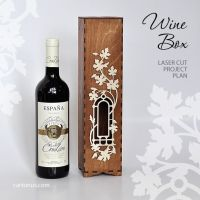 Wooden wine box with window and decorative frame. Laser ...