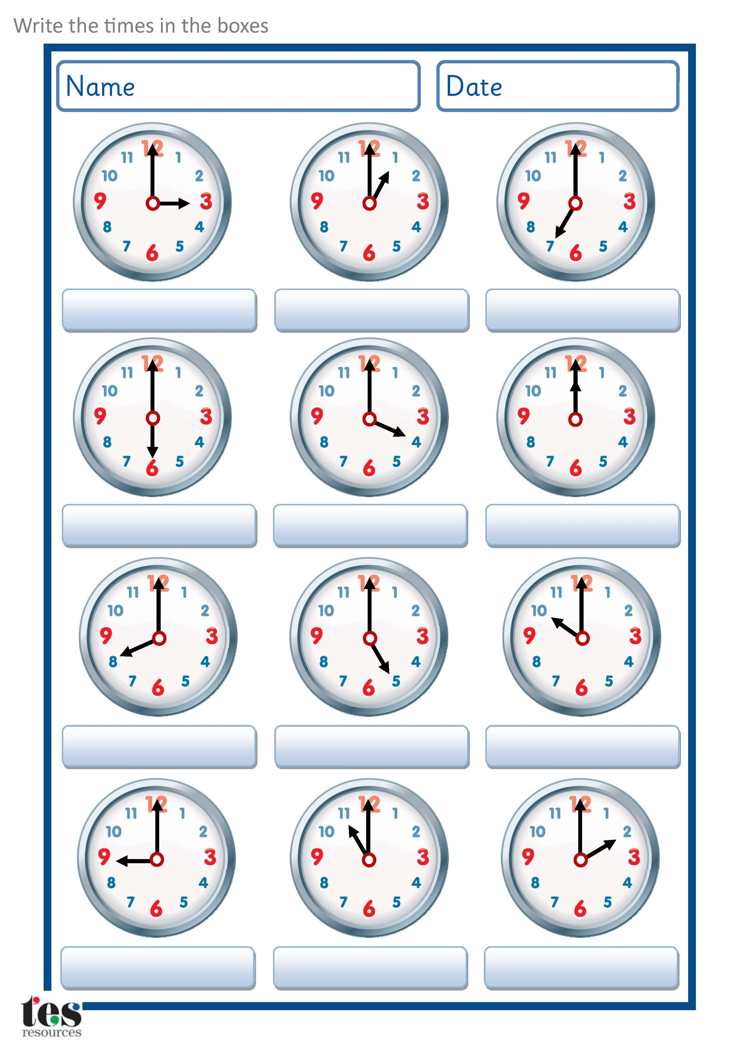 A Set Of Worksheets To Use When Developingogue Clock Skills Set Contains 2 Sheets Each