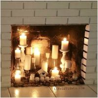 Rustic Faux Fireplace Candle Display | Livin' La Vida Lo ...