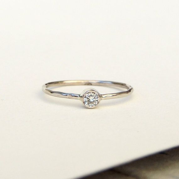 Engagement Ring Dainty Delicate Gold Ring Moissanite