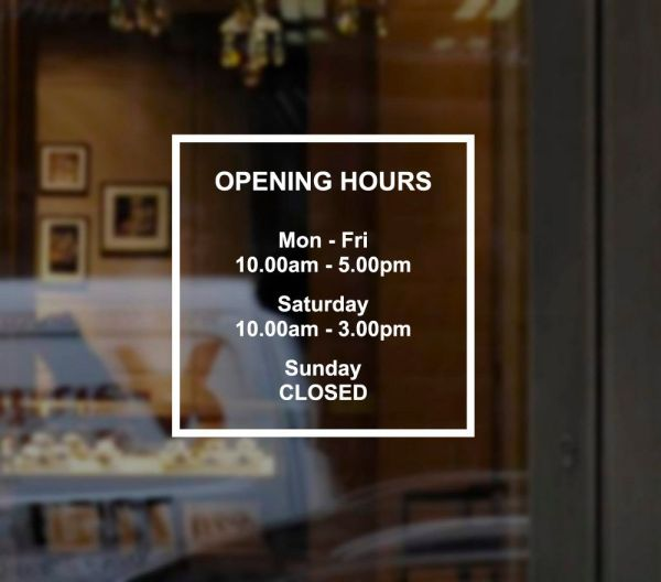 Custom Business Opening Hours Times Sign Windows Sticker