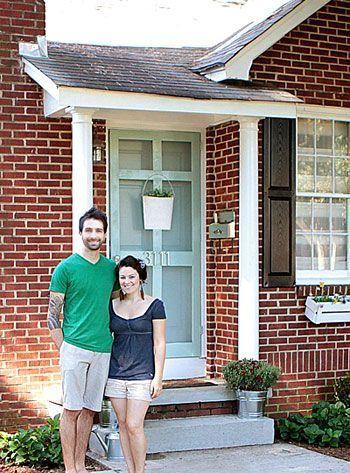 Brick House Mint Door Black Shutters Front Door Pinterest