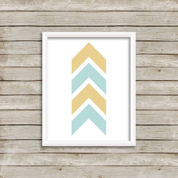 Chevron printable yellow and blue arrow print wall art instant download nursery decor minimalist also rh pinterest