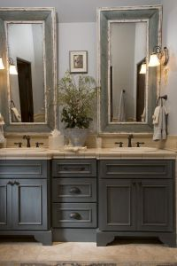 French Country bathroom, gray washed cabinets, mirrors