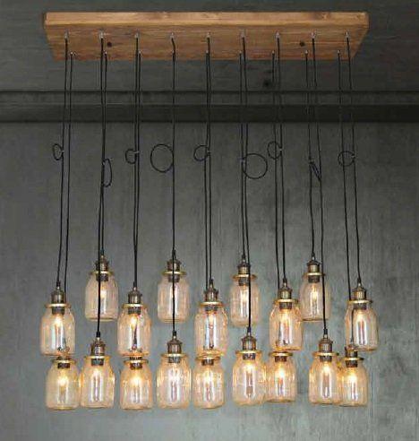 Vintage hanglamp met 18 glazen lampenkappen met houten
