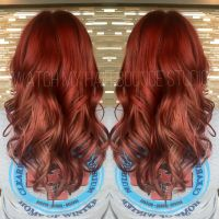 Red and rose gold hair, Color melt. Using Alfaparf ...