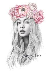 gigi hadid flower crown fashion