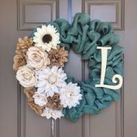 A personalized burlap wreath made with Turquoise Burlap ...