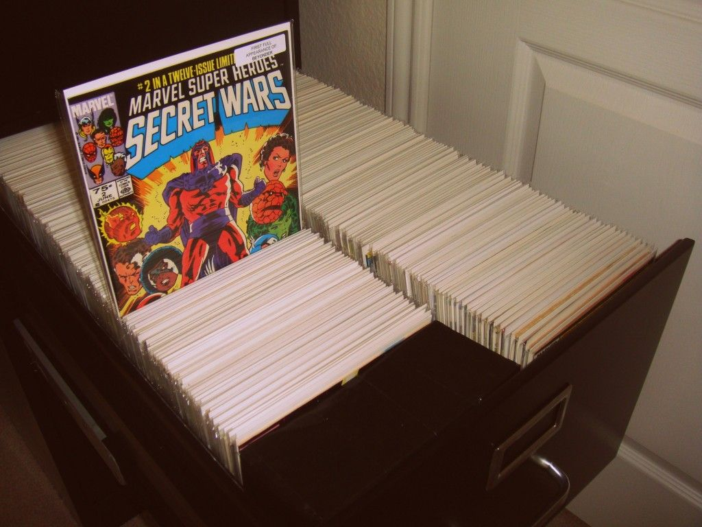 An example of using a filing cabinet to store comics books