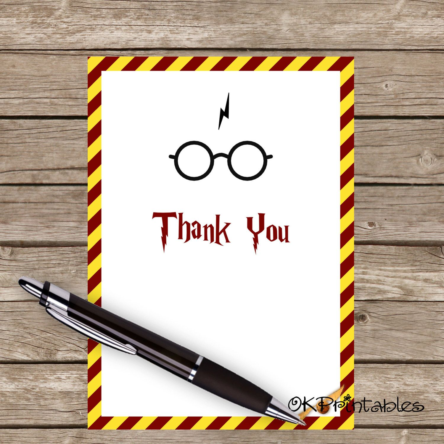 Harry Potter Thank You Card Printable Thank You Card