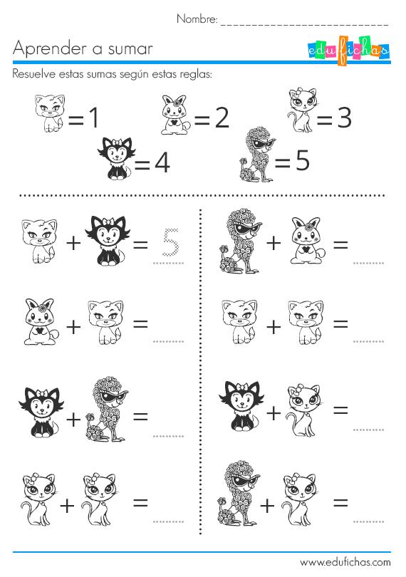 Sumas de dibujos con valores del uno al cinco. #preescolar
