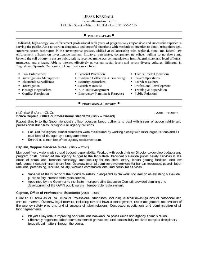 Job Police Captain Resume Jobresumesample Com 510 Job
