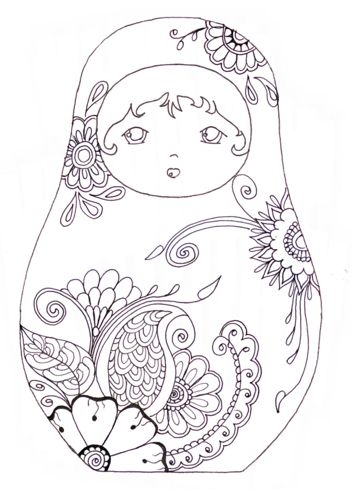 Matryoshka / coloriage I admit, I still like to colour