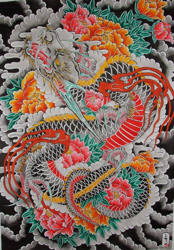 Traditional Japanese Dragon Tattoo Flash