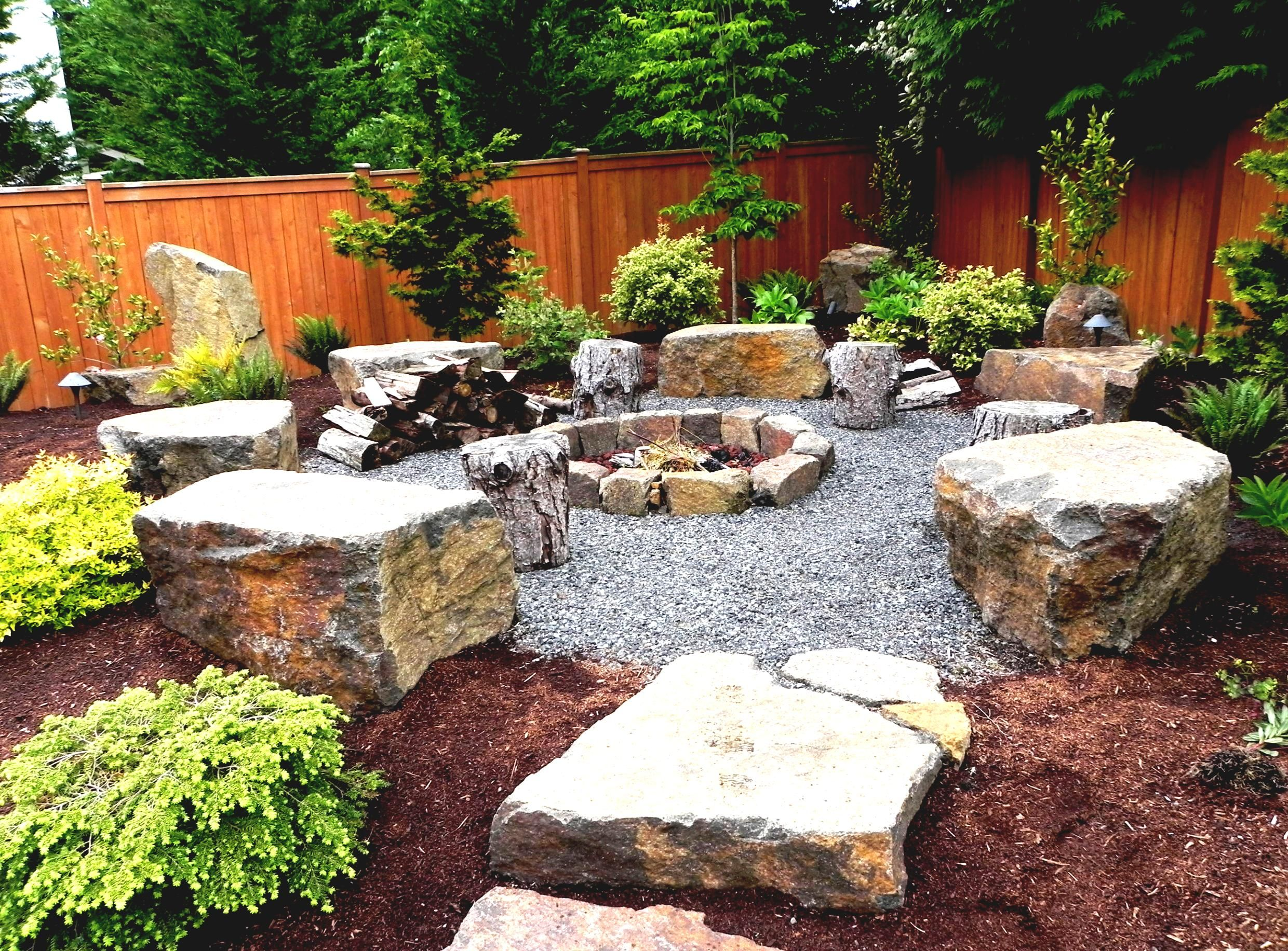 Natural Landscaping Fire Pit Designs For Backyard Rock Ideas