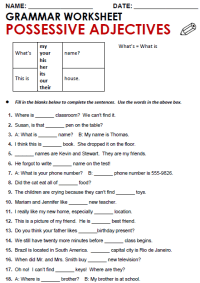 All Worksheets  Possessive Adjectives And Possessive ...