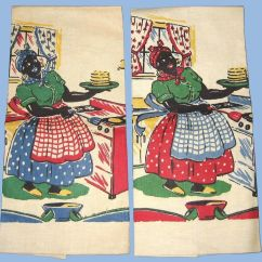 Aunt Jemima Kitchen Curtains Bull Outdoor Vintage Flipping Pancakes Linen Towels 2