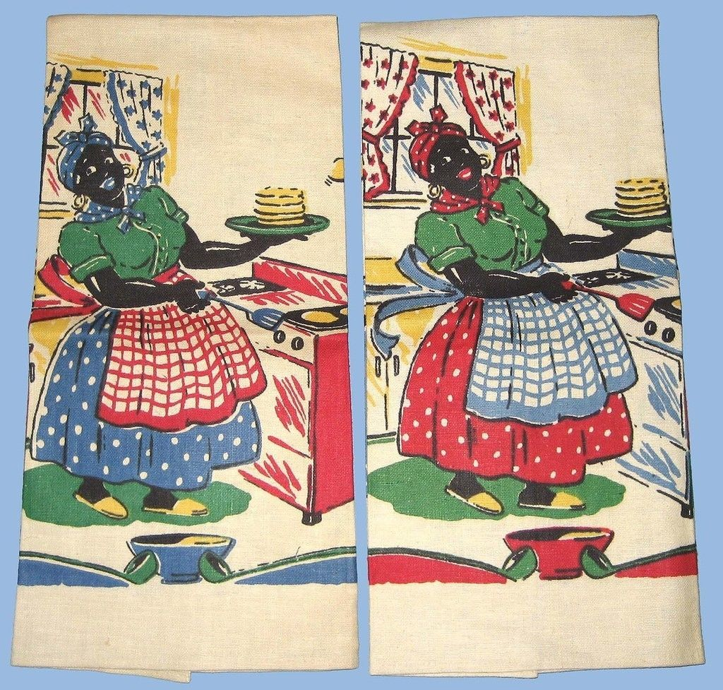 aunt jemima kitchen curtains islands you can sit at vintage flipping pancakes linen towels 2