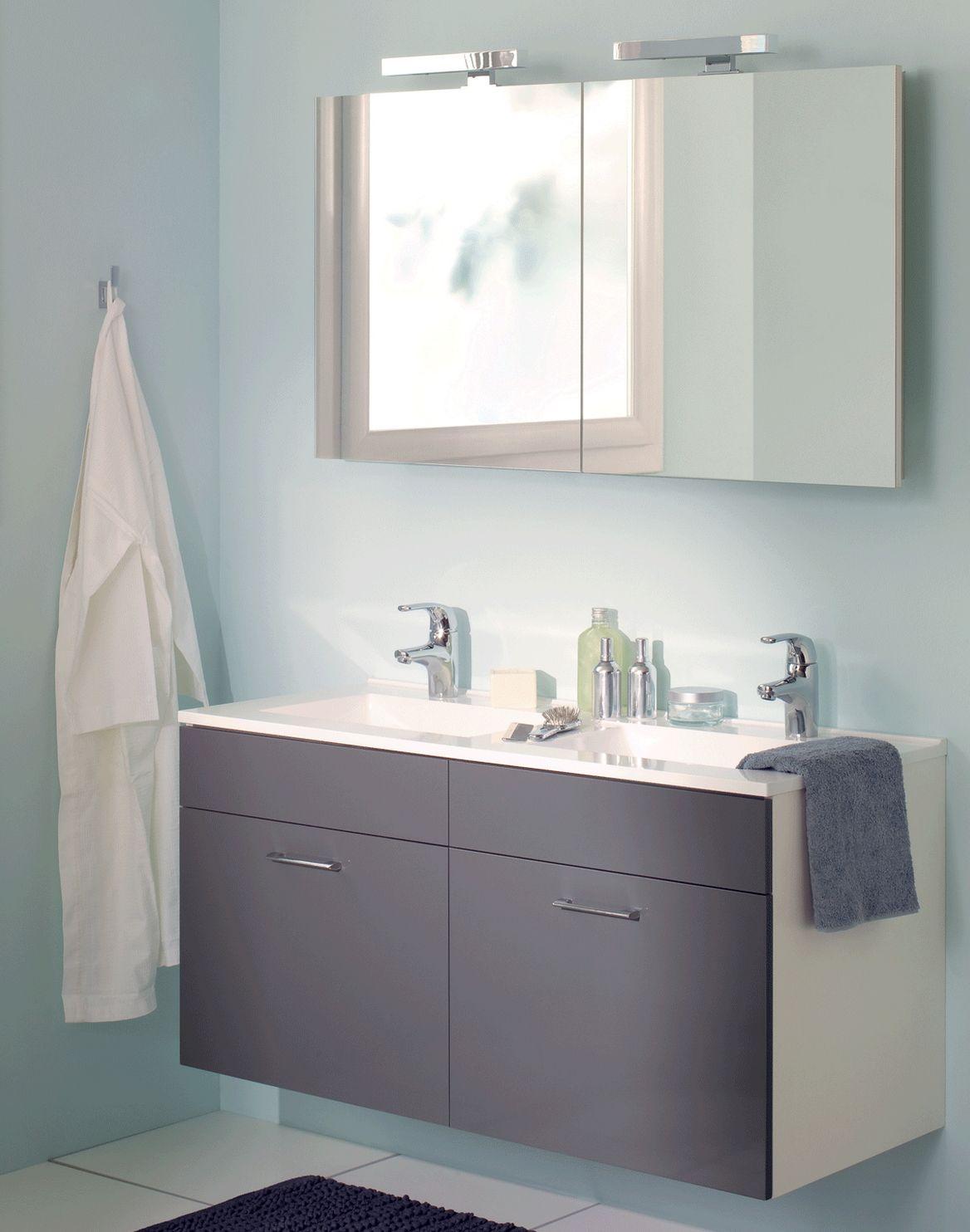 meuble vasque gris et armoire de toilette sanijura http www deco