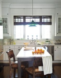 Cottage style kitchen with green pendants walnut floors vintage chairs marble counter tops also modern country home interiors google search kitchens pinterest rh