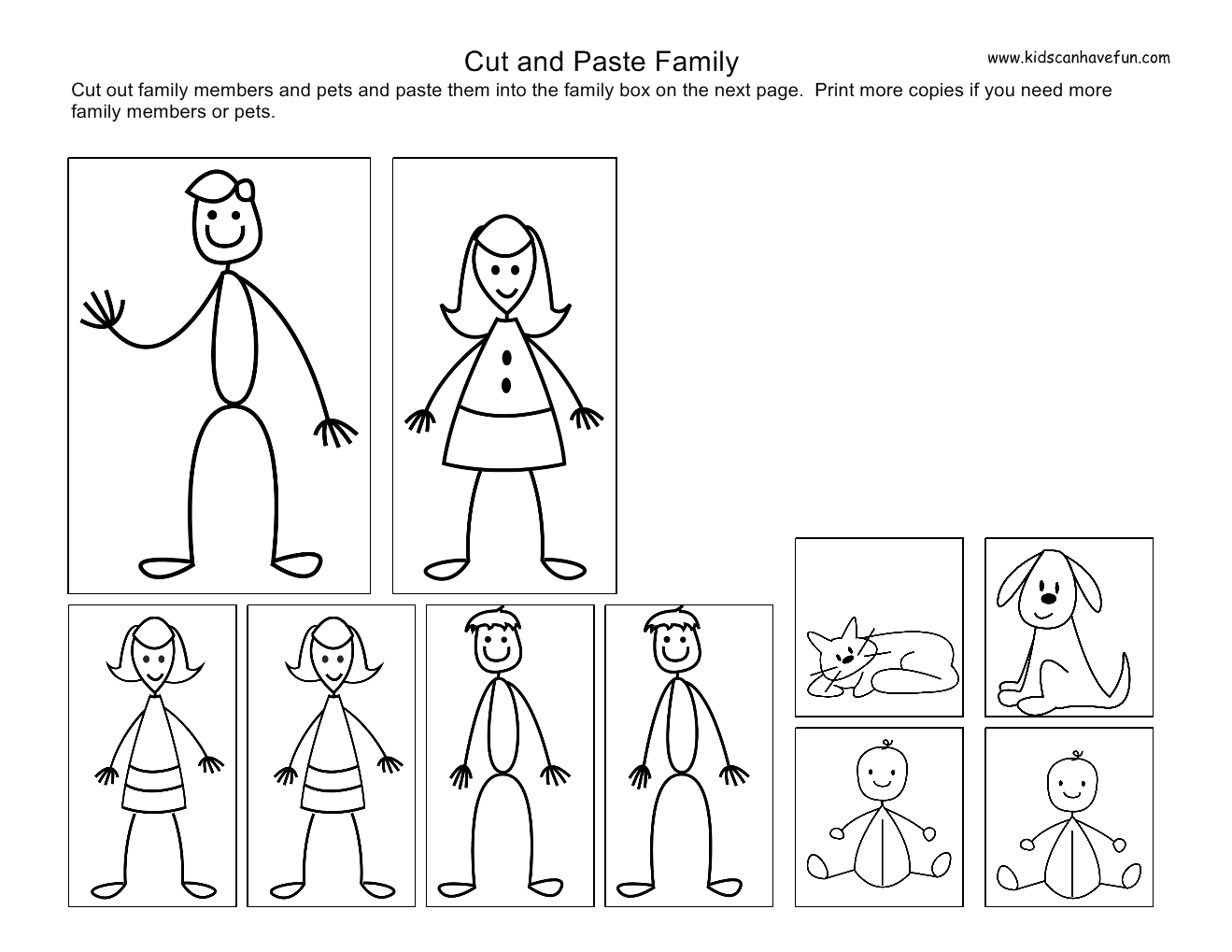 Cut And Paste Kids Family Worksheets