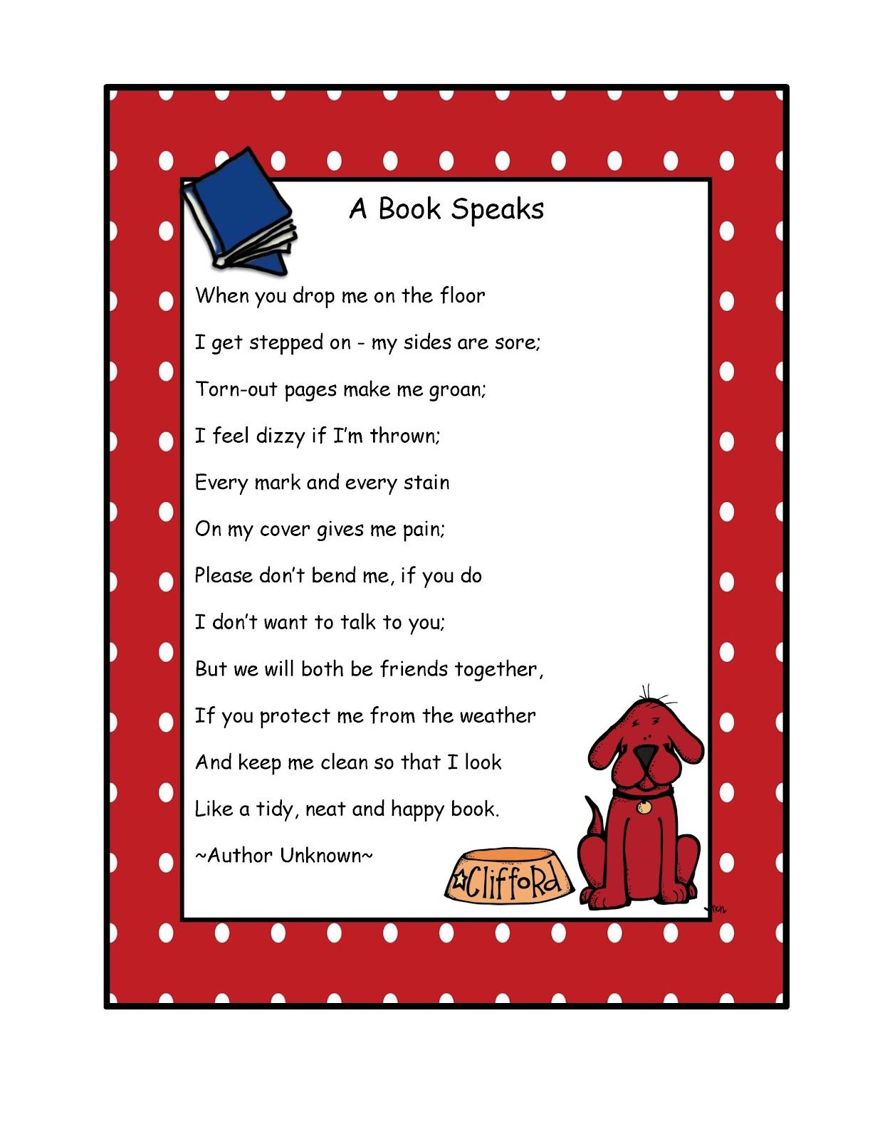 Preschool Printables Free Clifford A Book Speaks Poem