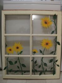 Painted sunflowers on old window | My Projects | Pinterest ...
