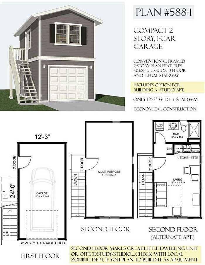 1 Car 2 Story Garage Apartment Plan 5881 123 x 24