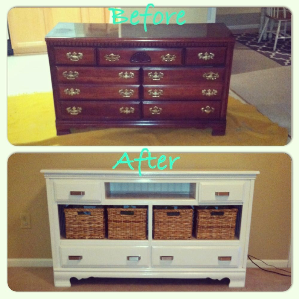 I love how this turned out!!! DIY old dresser into TV