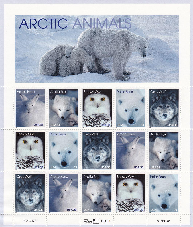 Arctic Animals Stamp Sheet
