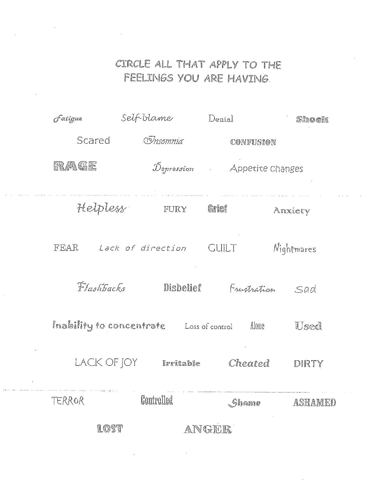 Here Is A Version Of The Emotions Worksheet For Teens