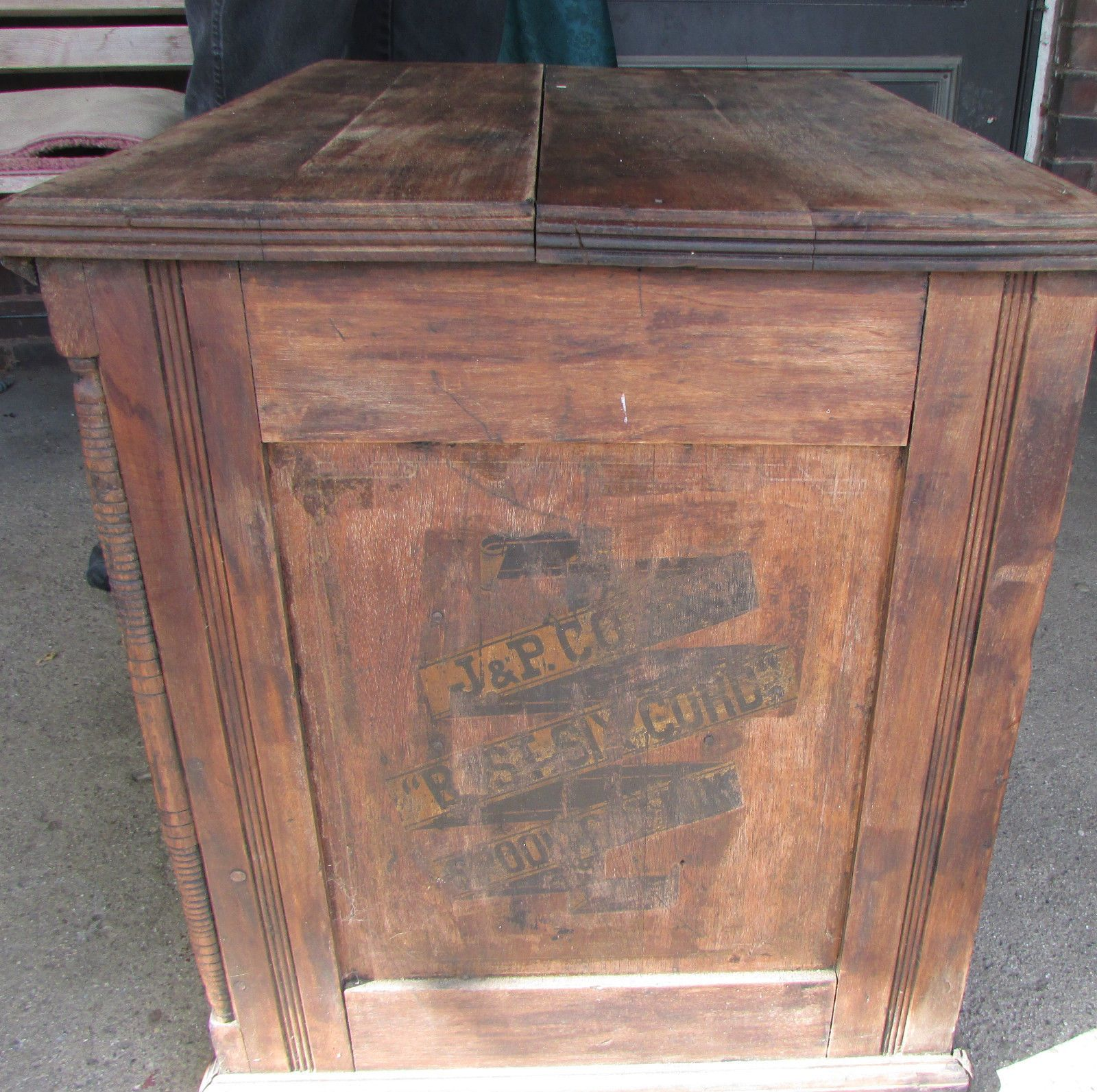 Vintage Antique J P Coats Sewing Cabinet Spool Cabinet