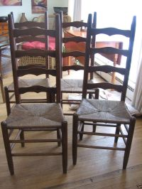 ANTIQUE RUSTIC LADDER BACK CHAIRS RUSH SEAT | Dining Room ...
