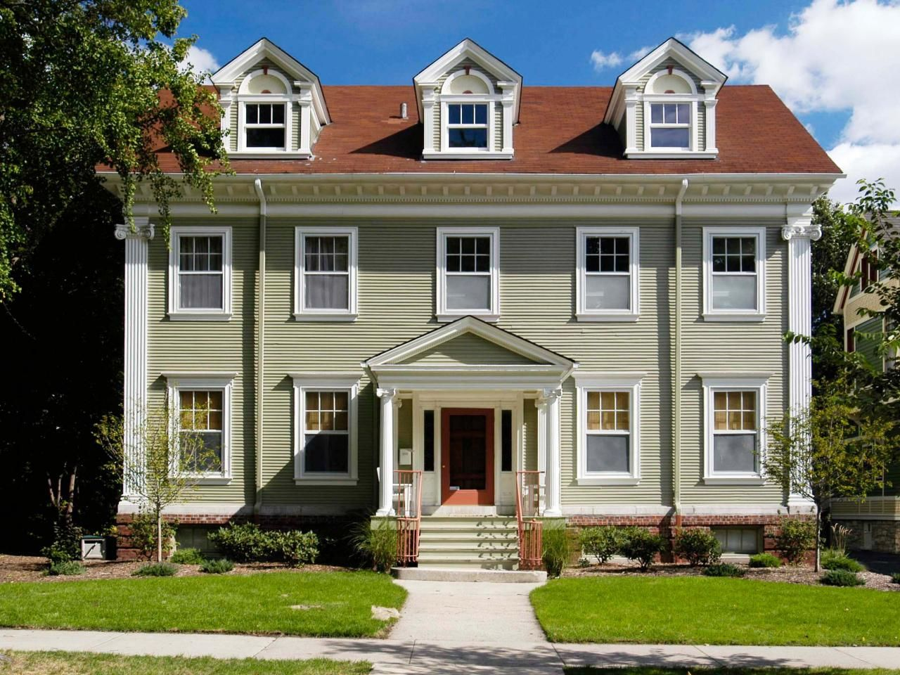 Colonial Architecture Red Roof Exterior Paint Colors And Grey
