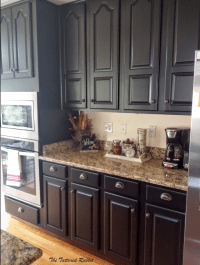 cherry kitchen cabinet makeover/black painted kitchen