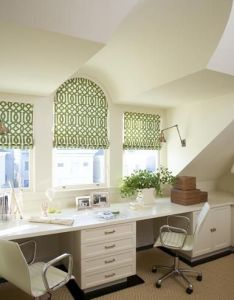 Love the roman shade with arch top not so loving color home design and renovations pinterest green roller blinds double desk desks also rh