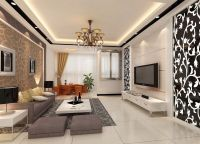 Large Dining room interior design with Wallpaper