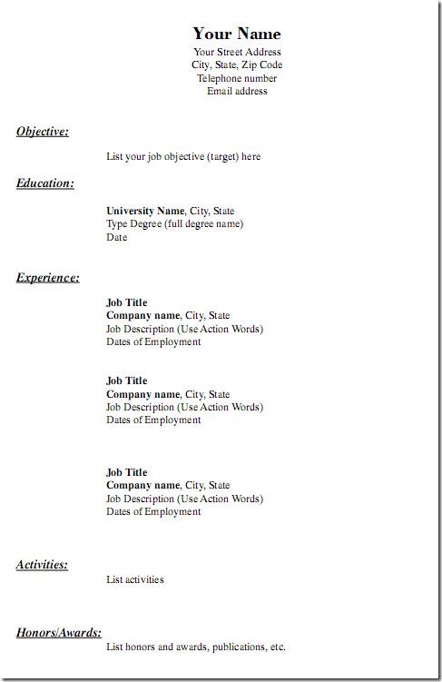 Free Printable Blank Resume Forms Resumecareer Info
