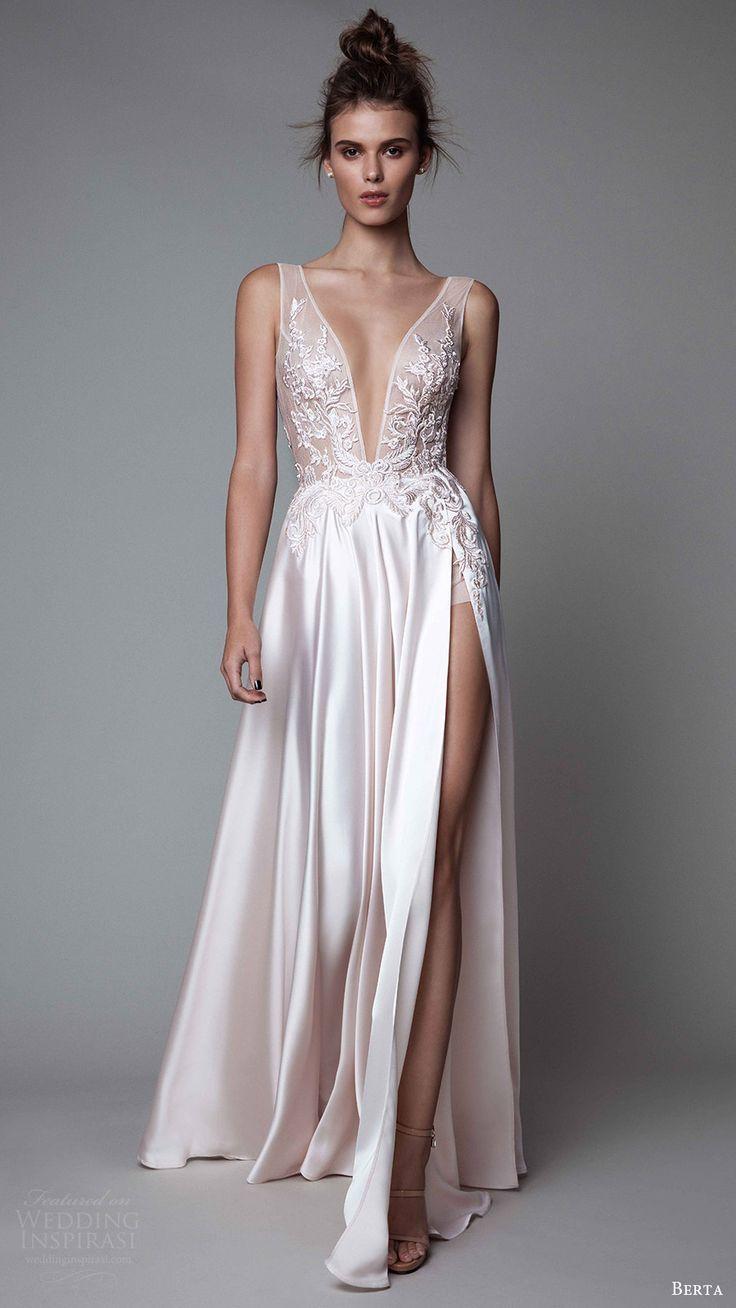 Berta Fall 2017 ReadytoWear Collection  Evening wedding dresses Slit skirt and Bodice