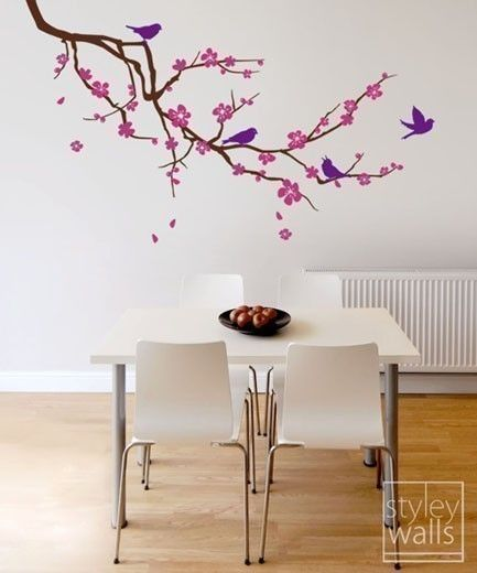 Cherry Blossom Branch And Birds Wall Decal Cherry Branch Wall